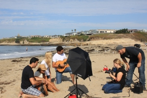Setting up the photo shoot on the beach for Tees For Your Head t-shirts